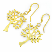 Sterling Silver Gold Plated Tree of Life Hook Earrings