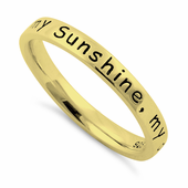 "Sterling Silver Gold Plated ""You Are My Sunshine, My Only Sunshine"" Ring"