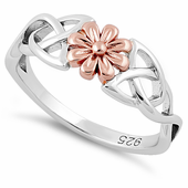 Sterling Silver Gold Two Tone Celtic Daisy Rose Ring