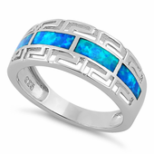Sterling Silver Greek Pattern Blue Lab Opal Ring