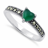 Sterling Silver Green Agate Heart Marcasite Ring
