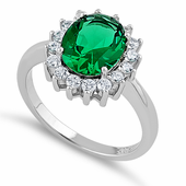 Sterling Silver Green Oval CZ Ring