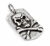 Sterling Silver Hammered Finish Skull Dog Tag