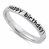 """Sterling Silver """"Happy Birthday! Wishing you all the best!"""" Ring"""