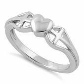 Sterling Silver Heart and 2 Cross Ring