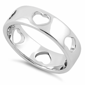 Sterling Silver Heart Pattern Eternity Ring