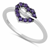 Sterling Silver Heart Shape Amethyst CZ Ring