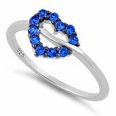Sterling Silver Heart Shape Blue Spinel CZ Ring