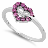 Sterling Silver Heart Shape Ruby CZ Ring