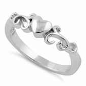 Sterling Silver Heart Swirls Ring