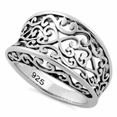 Sterling Silver Heart Vines Ring
