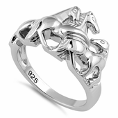 Sterling Silver Horses Ring