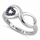 "Sterling Silver Infinity Amethyst Heart ""Always & Forever"" Engraved CZ Ring"
