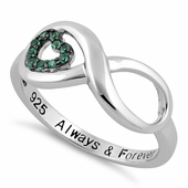 "Sterling Silver Infinity Emerald Heart ""Always & Forever"" Engraved CZ Ring"