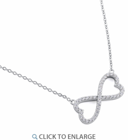 "Sterling Silver Infinity Heart CZ 16"" Necklace"