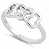 Sterling Silver Infinity Hearts Ring