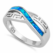 Sterling Silver Inifinite Greek Pattern Lab Opal Ring