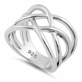 Sterling Silver Interwoven Wavelength Ring