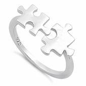 Sterling Silver Jigsaw Puzzle Pieces Ring