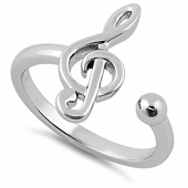 "Sterling Silver Key of ""G"" Music Note Ring"