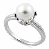 Sterling Silver King Crown Pearl CZ Ring