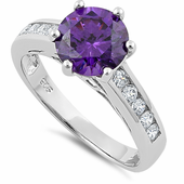 Sterling Silver Lavender Round Cut CZ Ring