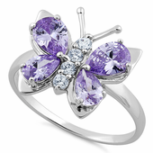 Sterling Silver Lavender Butterfly CZ Ring