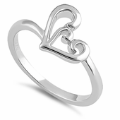 Sterling Silver Lavish Culry Heart Ring