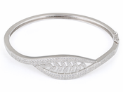 Sterling Silver Leaves Pave CZ Bangle Bracelet