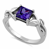 Sterling Silver Leaves Vines Princess Cut Amethyst CZ Ring