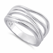 Sterling Silver Loosen String Pattern Ring