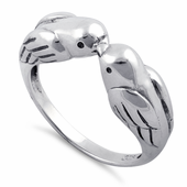 Sterling Silver Love Bird Kissing Ring
