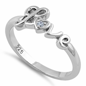 Sterling Silver Love CZ Ring