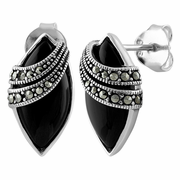 Sterling Silver Marquise Black Onyx Marcasite Earrings