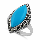 Sterling Silver Marquise Blue Turquoise Marcasite Ring