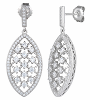 Sterling Silver Marquise CZ Dangle Earrings
