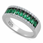 Sterling Silver Marquise Emerald CZ Ring