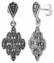 Sterling Silver Marquise Marcasite Earrings