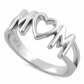 Sterling Silver Mom Heart Ring