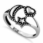 Sterling Silver Moon Star Heart Ring