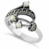 Sterling Silver Mother of Pearl Marcasite Ring