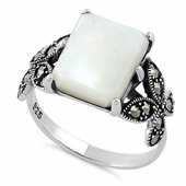 Sterling Silver Mother of Pearl Square Butterfly Marcasite Ring