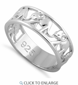 Sterling Silver Multiple Elephants Ring