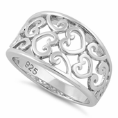 Sterling Silver Multiple Hearts Ring