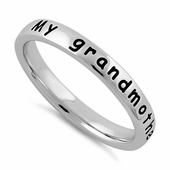 """Sterling Silver """"My grandmother is my angel"""" Ring"""