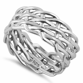 Sterling Silver Net Weaving Ring