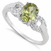 Sterling Silver Olive Green Oval Cut CZ Ring