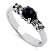 Sterling Silver Black Onyx Round Marcasite Ring