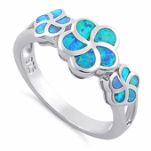 Sterling Silver Lab Opal Plumera Ring