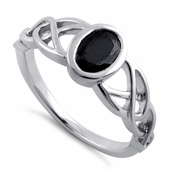 Sterling Silver Black Oval Celtic CZ Ring